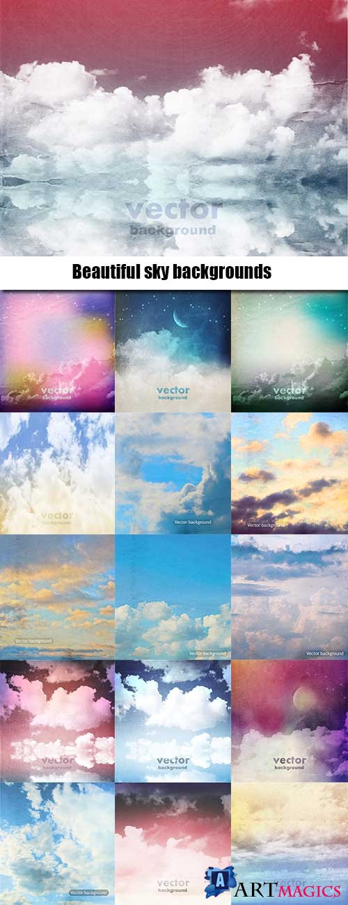 Beautiful sky backgrounds in vector - 25 Eps