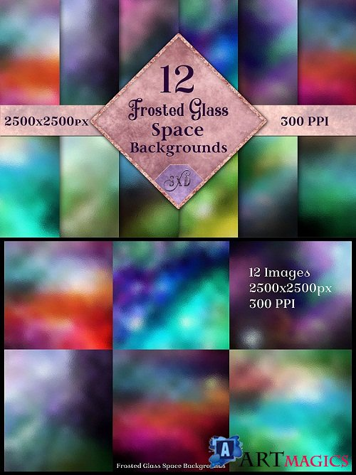 Frosted Glass Space Backgrounds - 12 Image Textures Set 260458