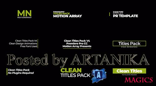 Clean Titles Pack v4 Premiere Pro Template 214408