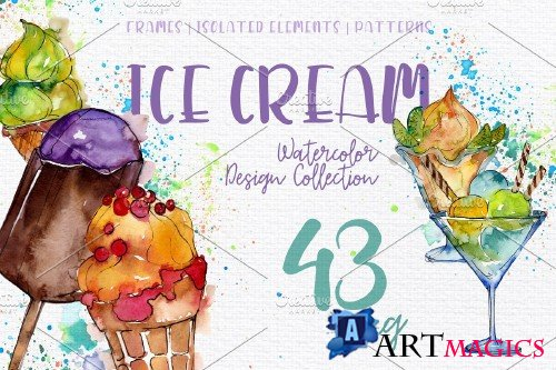 Ice- cream Sundae watercolor png 3828682