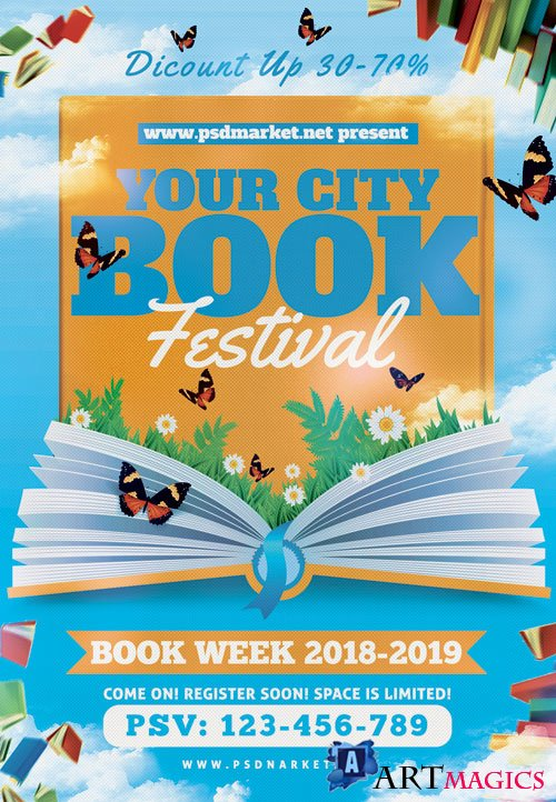 BOOK FESTIVAL FLYER - PSD TEMPLATE