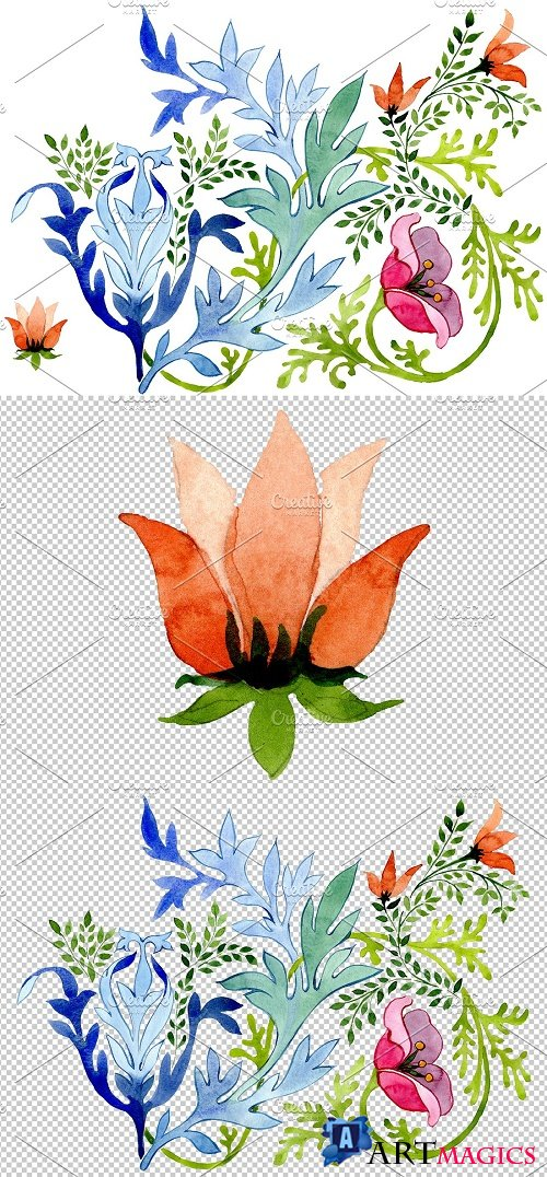 Ukrainian floral ornament watercolor - 3849745