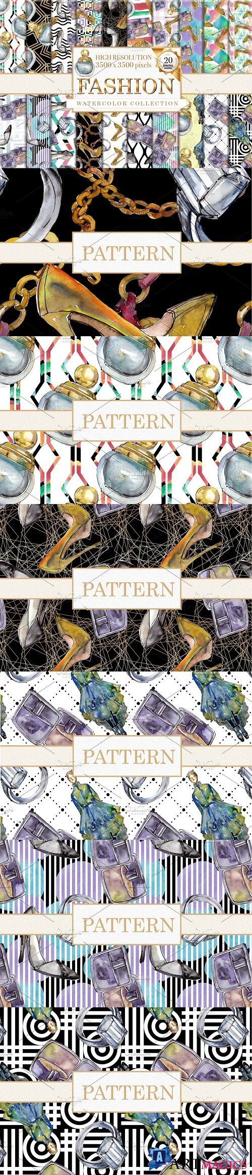 Fashion patterns Watercolor png - 3840832