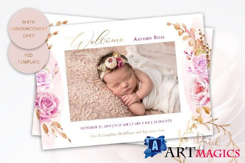 Birth Announcement Card Template #9 - 3855087