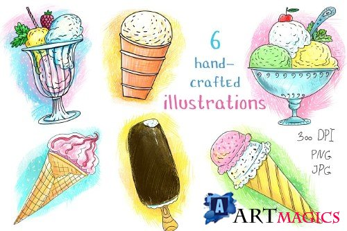 Ice Cream - 6 illustrations+ - 3872463