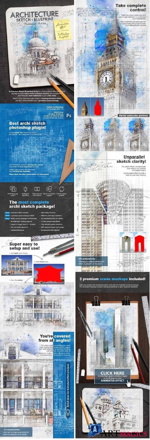 Animated Architecture Sketch and Blueprint Photoshop Action 23954628