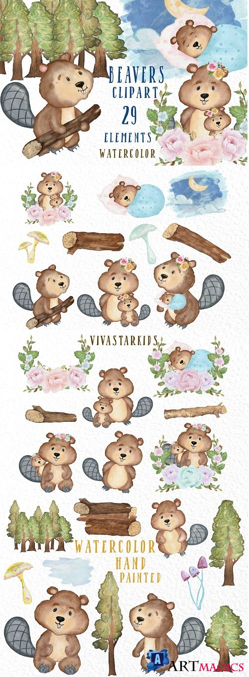 Watercolor animals Beavers clipart - 3909019