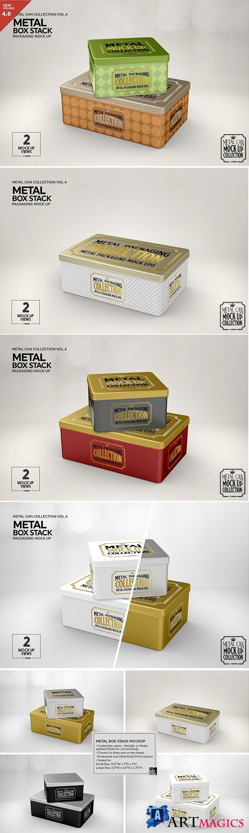 Metal Box Stack Packaging Mockup 3883387