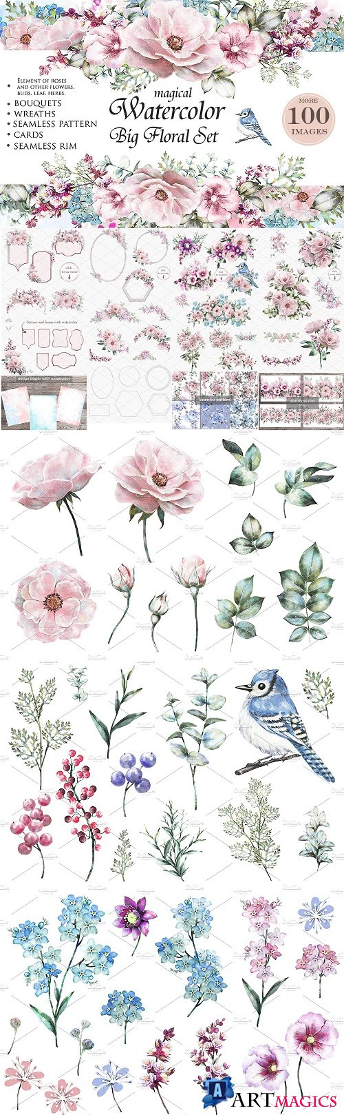 Watercolor Floral Design Set. Flower - 1207012