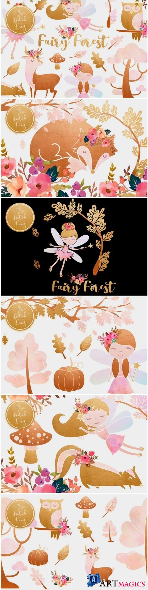 Enchanted Fairy Forest Clipart Set - 3913544