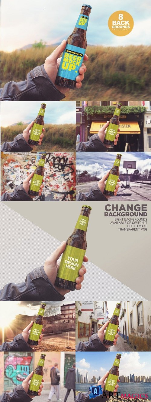 Personalized Background Beer Mockup - 3894988