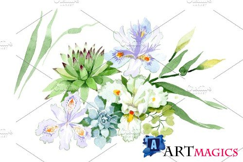 Bouquet with white irises watercolor - 3951091