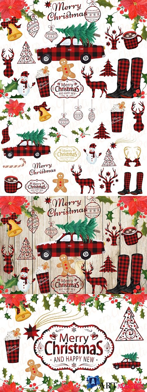 Christmas clipart Christmas car - 3960695