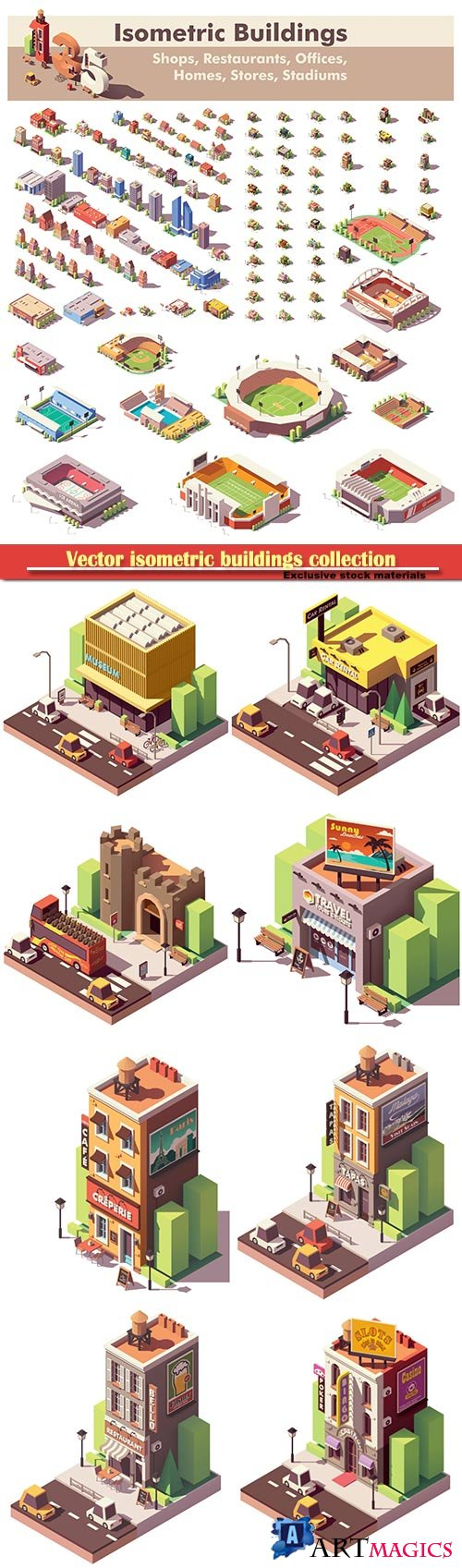 Vector isometric buildings collection, includes homes, offices, stadiums, shops, supermarkets, stores and restaurants