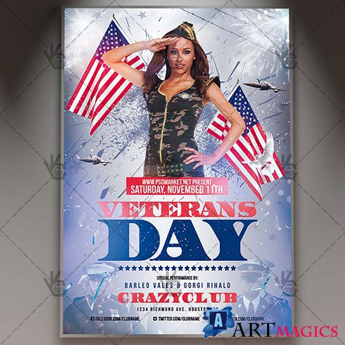 Veterans day - Premium flyer psd template