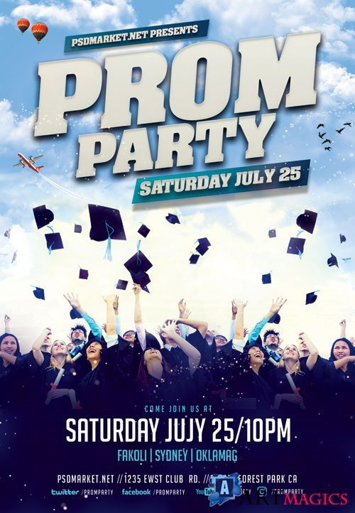 Prom party - Premium flyer psd template