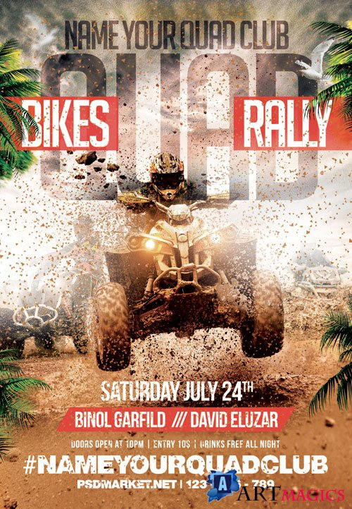 Quad bikes rally - Premium flyer psd template