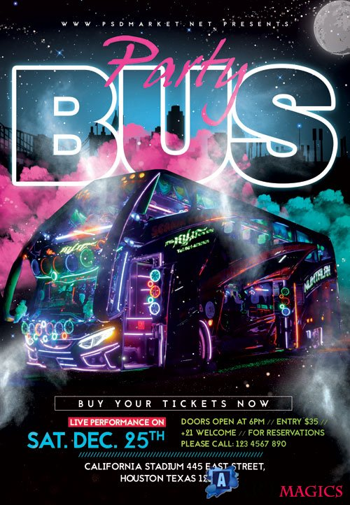 Party bus - Premium flyer psd template