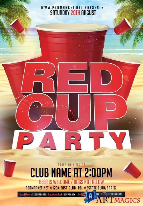 Red cup party - Premium flyer psd template