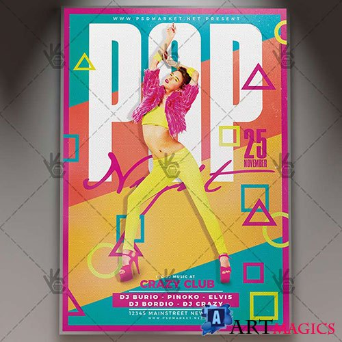 Pop night - Premium flyer psd template
