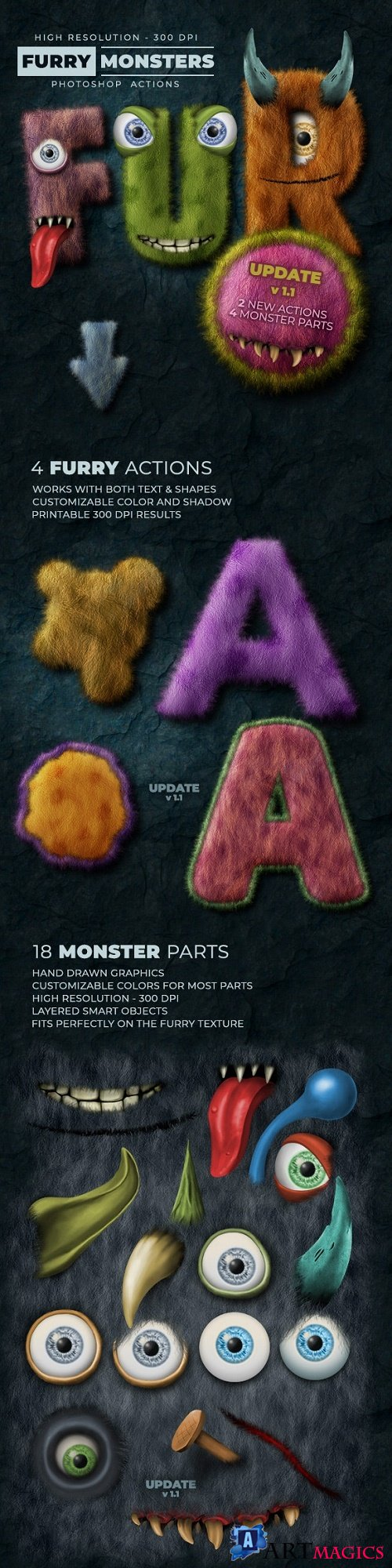 Furry Monster Actions - 300 DPI - 24518004