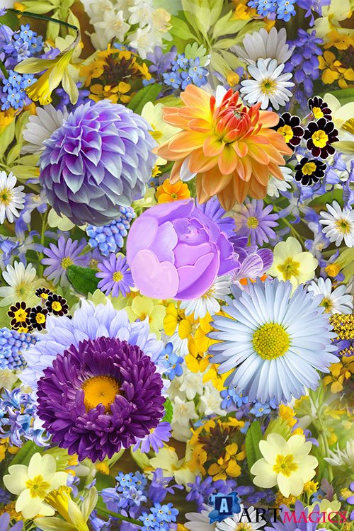Realistic colorful flowers psd template