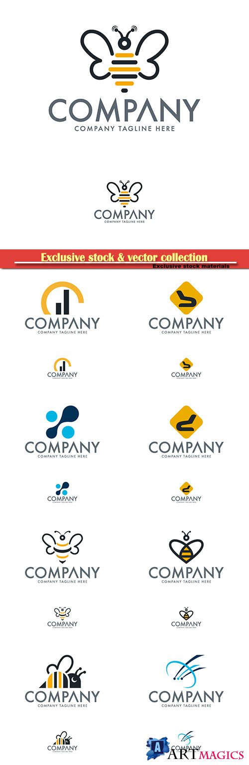 Logo vector template business set # 64