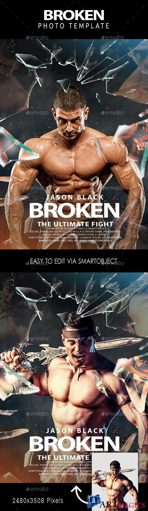 Broken Glass Action Movie Poster Template 24032099