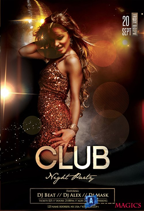 Club Night Party PSD Flyer Template