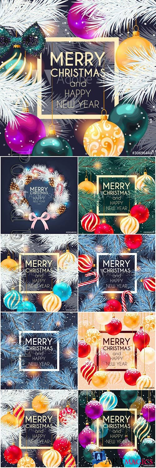 Christmas cards with cones, Christmas balls and