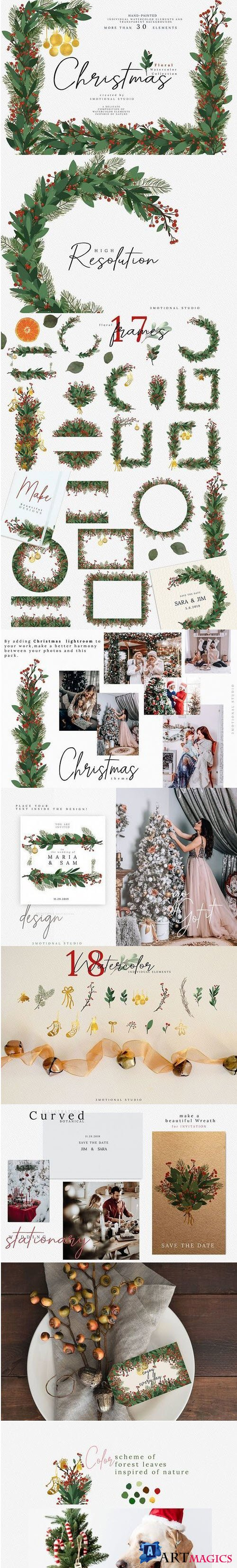 Christmas Watercolor Floral Frames Collection - 404265
