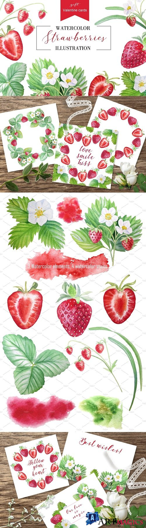 Strawberry + Valentine cards - 2540986