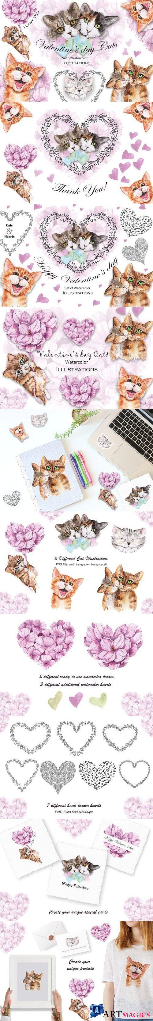 Valentine's Day Watercolor Cats - 4441445