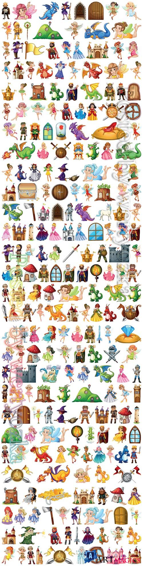 Set of fairy tale vector character