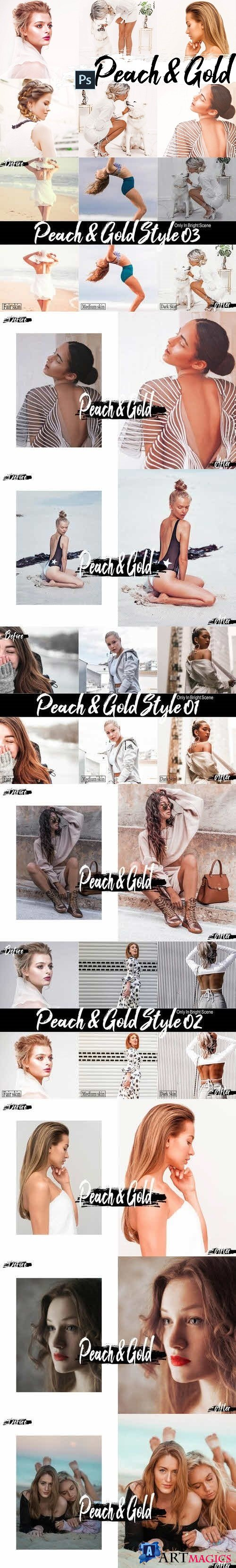 09 Peach & Gold Photoshop Actions, ACR and LUT presets  423189