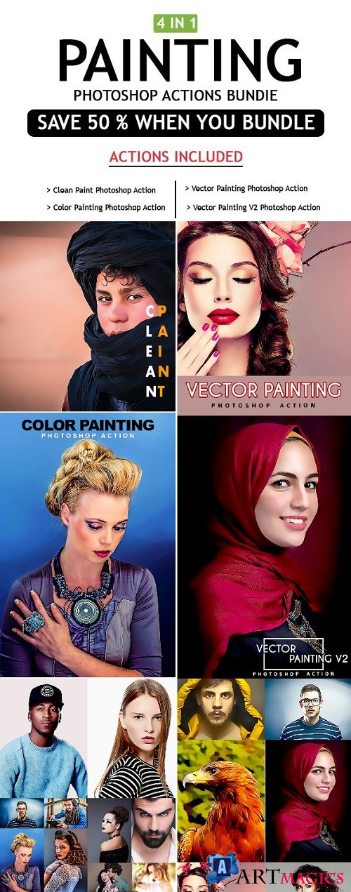 Painting 4 IN 1 Photoshop Actions Bundle - 25490966