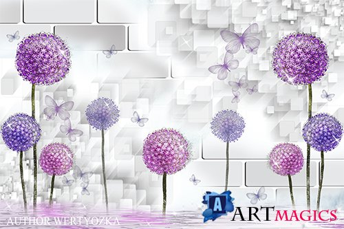 Flowers and butterflies multilayer PSD source with 3D effect