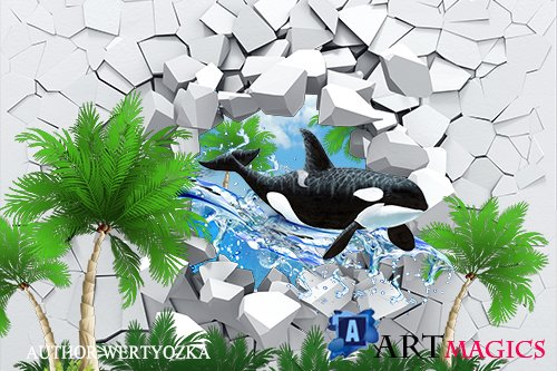Whale 3d figure multilayer PSD source with 3D effect