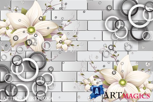 Flowers and abstraction multilayer PSD source with 3D effect