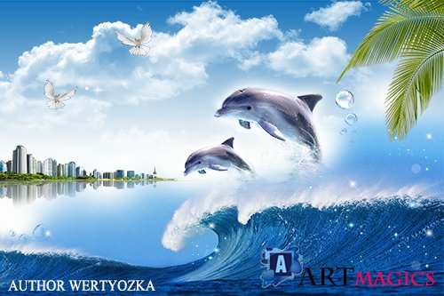 Dolphins multilayer PSD source with 3D effect