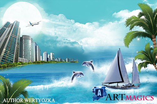 City and Sailboat multilayer PSD source with 3D effect