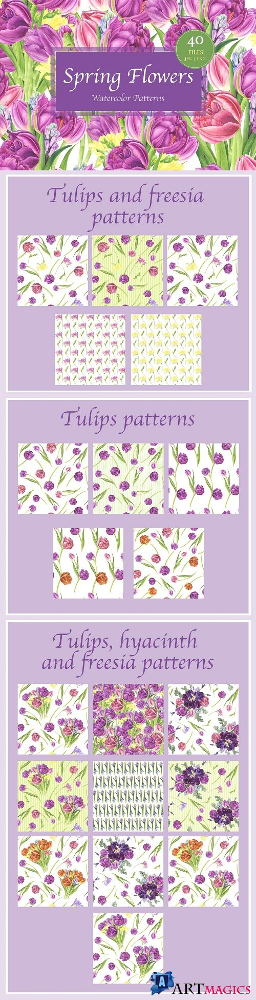 Spring Flowers Watercolor Patterns - 3623326
