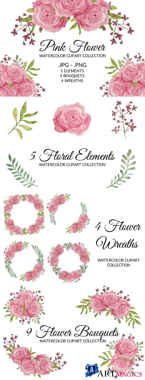 Pink Rose Flower Watercolor Clipart Set
