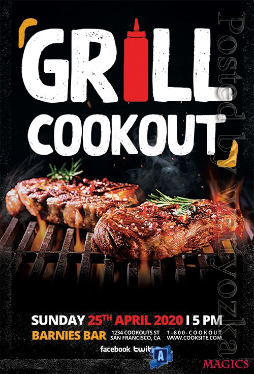 Grill Cookout - Premium flyer psd template