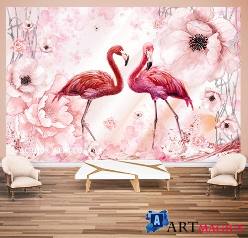 Flamingo background wall decors, 3D models template PSD
