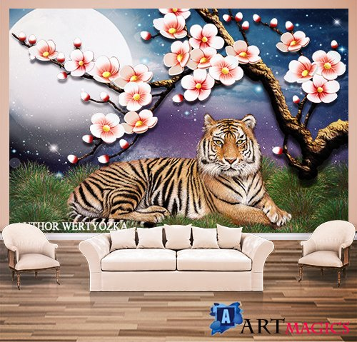 Tiger background wall decors, 3D models template PSD
