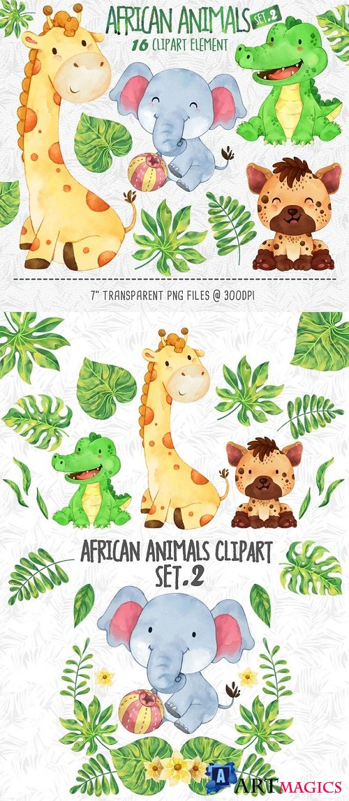 African animals Clipart 2