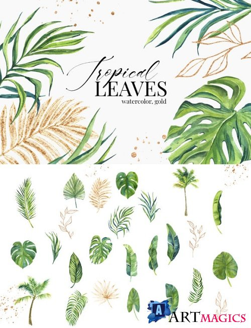 Tropical Green Golden Leaves Watercolor