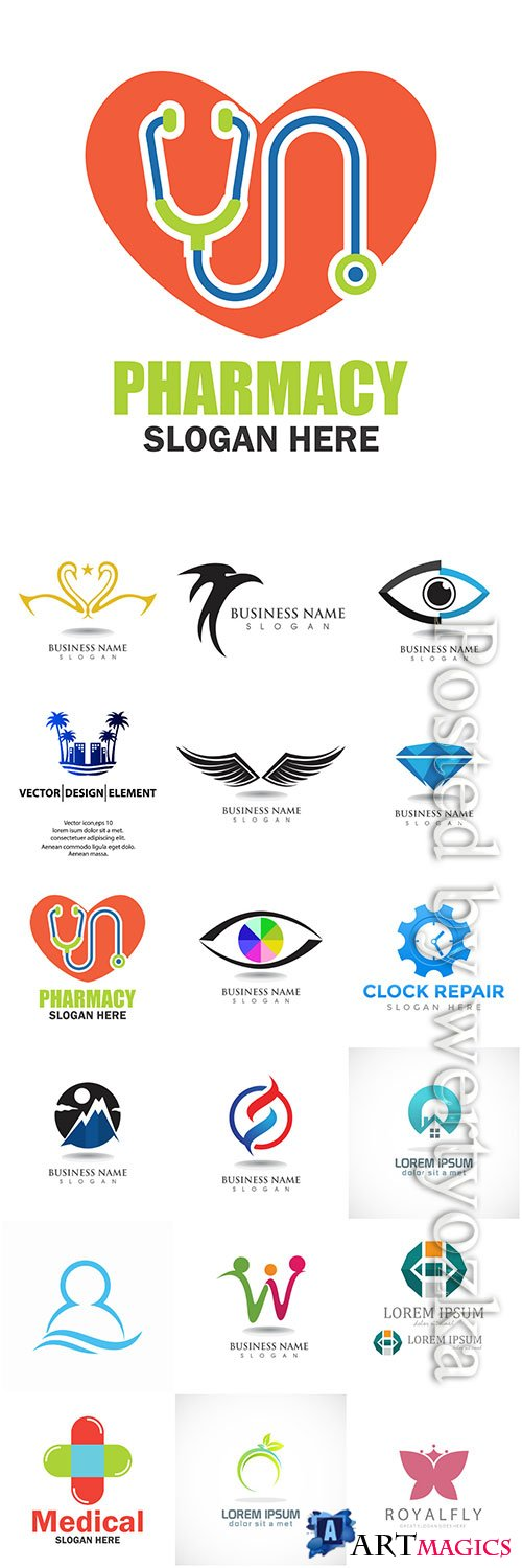 Logos in vector, business icons, emblems, labels
