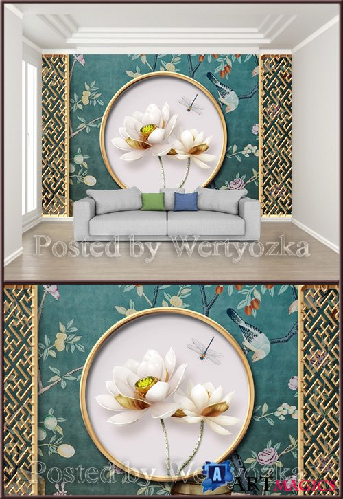 3D psd backgroundwall chinese classical metal openwork window lotus embossed